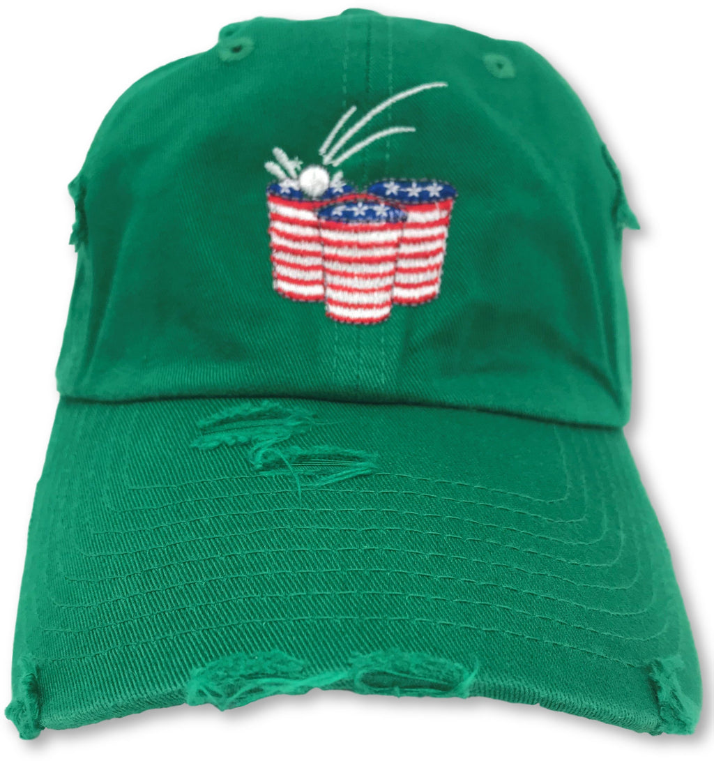 Kelly Green Beer Pong American Flag Hat