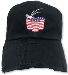 Black Beer Pong American Flag Hat