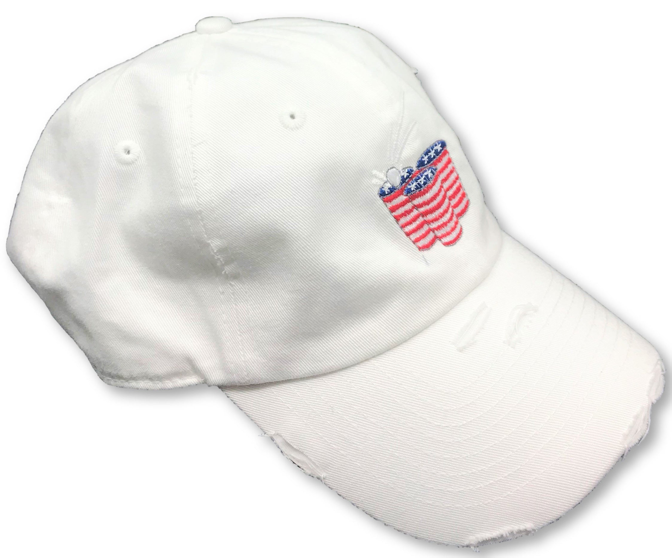 White Beer Pong American Flag Hat