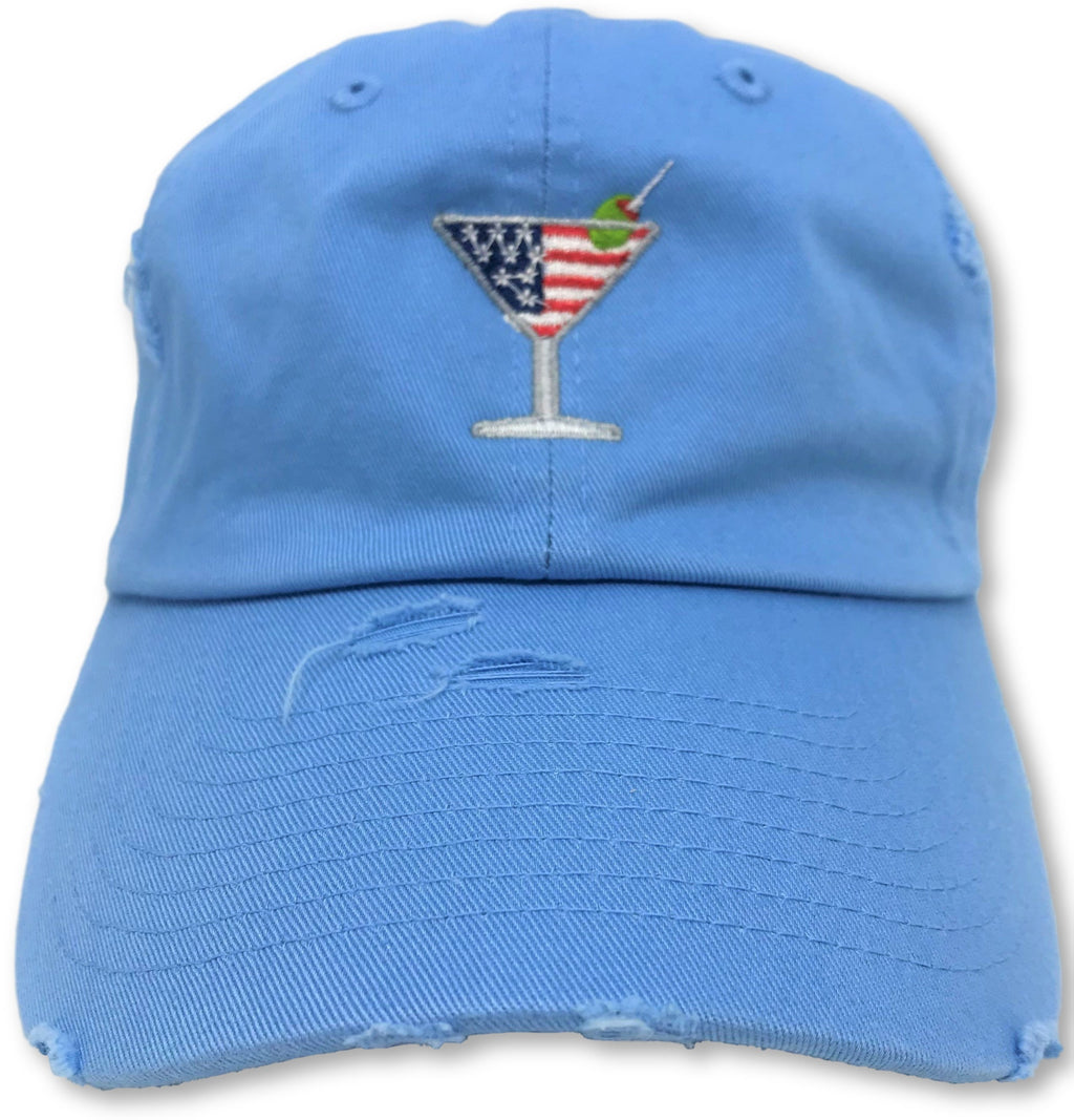Light Blue Martini American Flag Hat