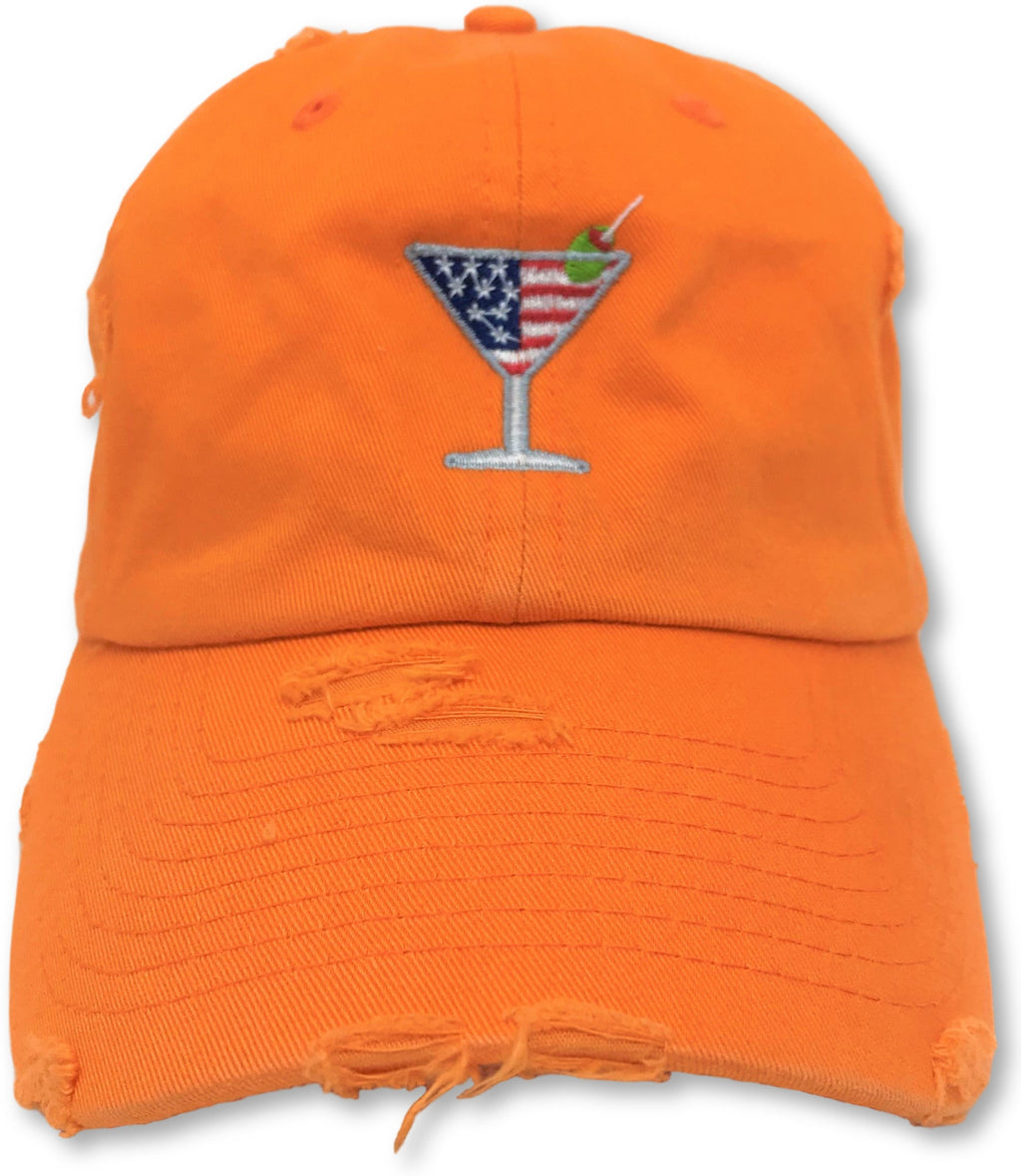 Orange Martini American Flag Hat