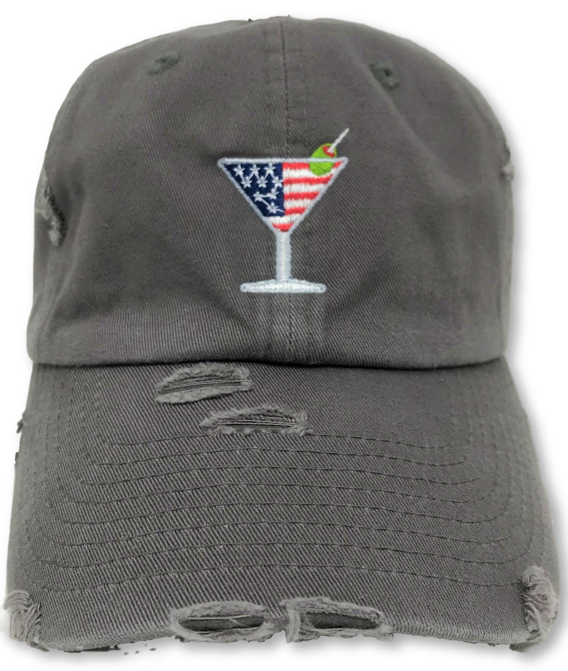 Charcoal Grey Martini American Flag Hat