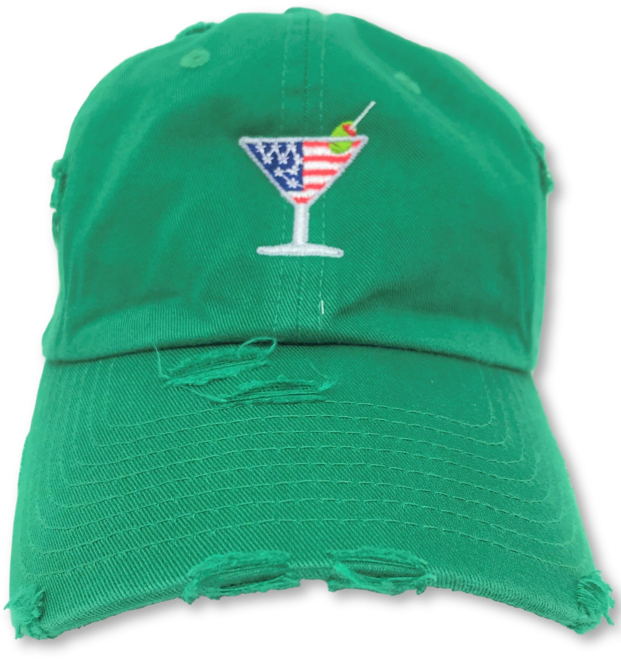 Kelly Green Martini American Flag Hat
