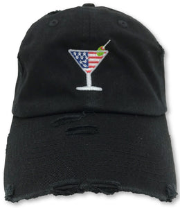 Black Martini American Flag Hat