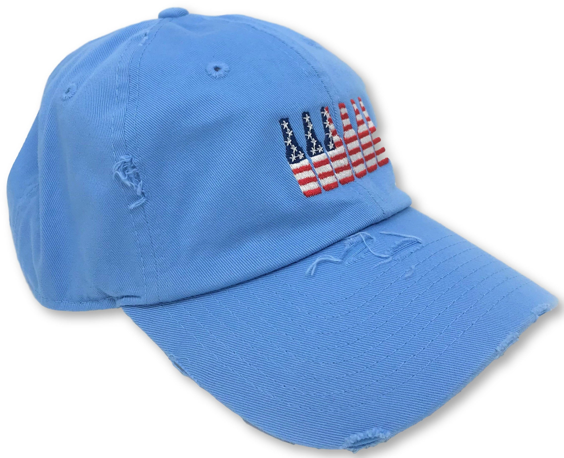 Light Blue 6 Pack American Flag Hat