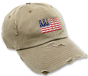 Khaki 6 Pack American Flag Hat