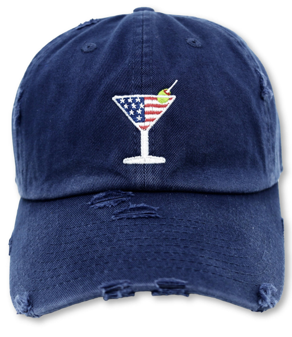 Navy Martini American Flag Hat