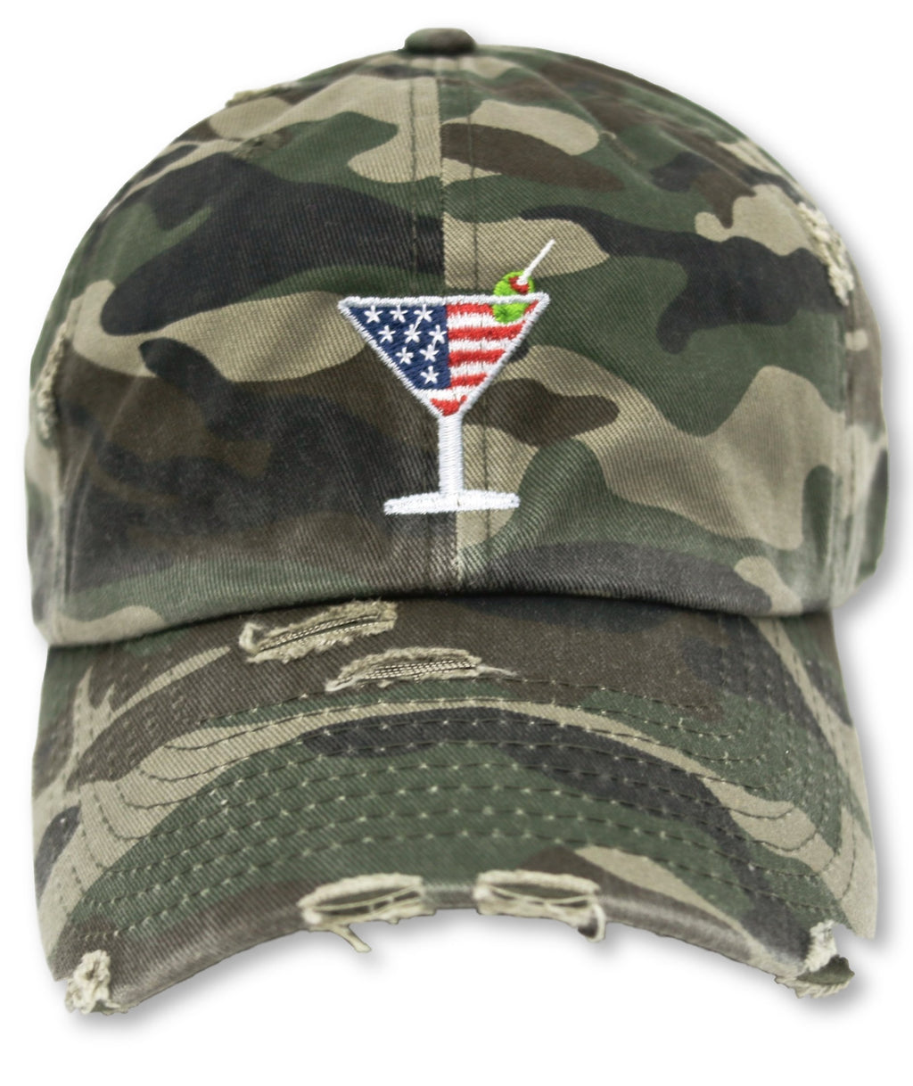 Camo Martini American Flag Hat