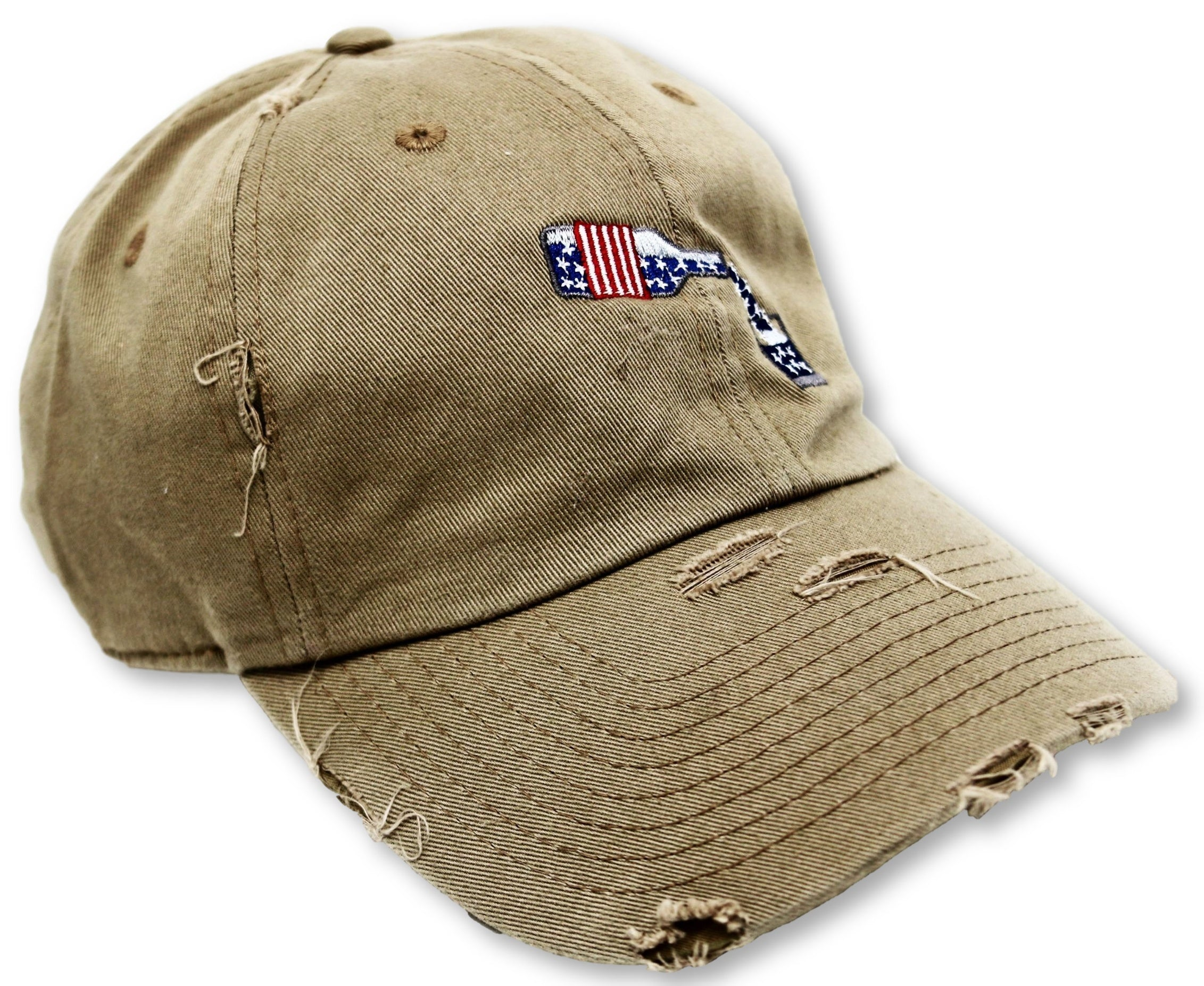 Khaki Whiskey American Flag Hat