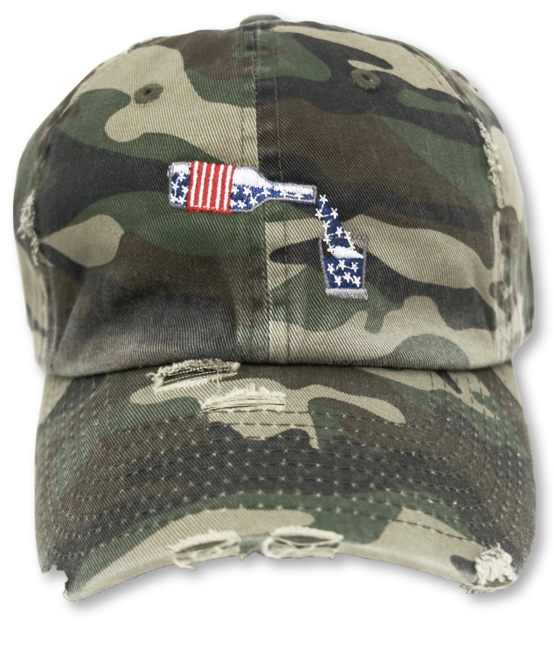 Camo Whiskey American Flag Hat