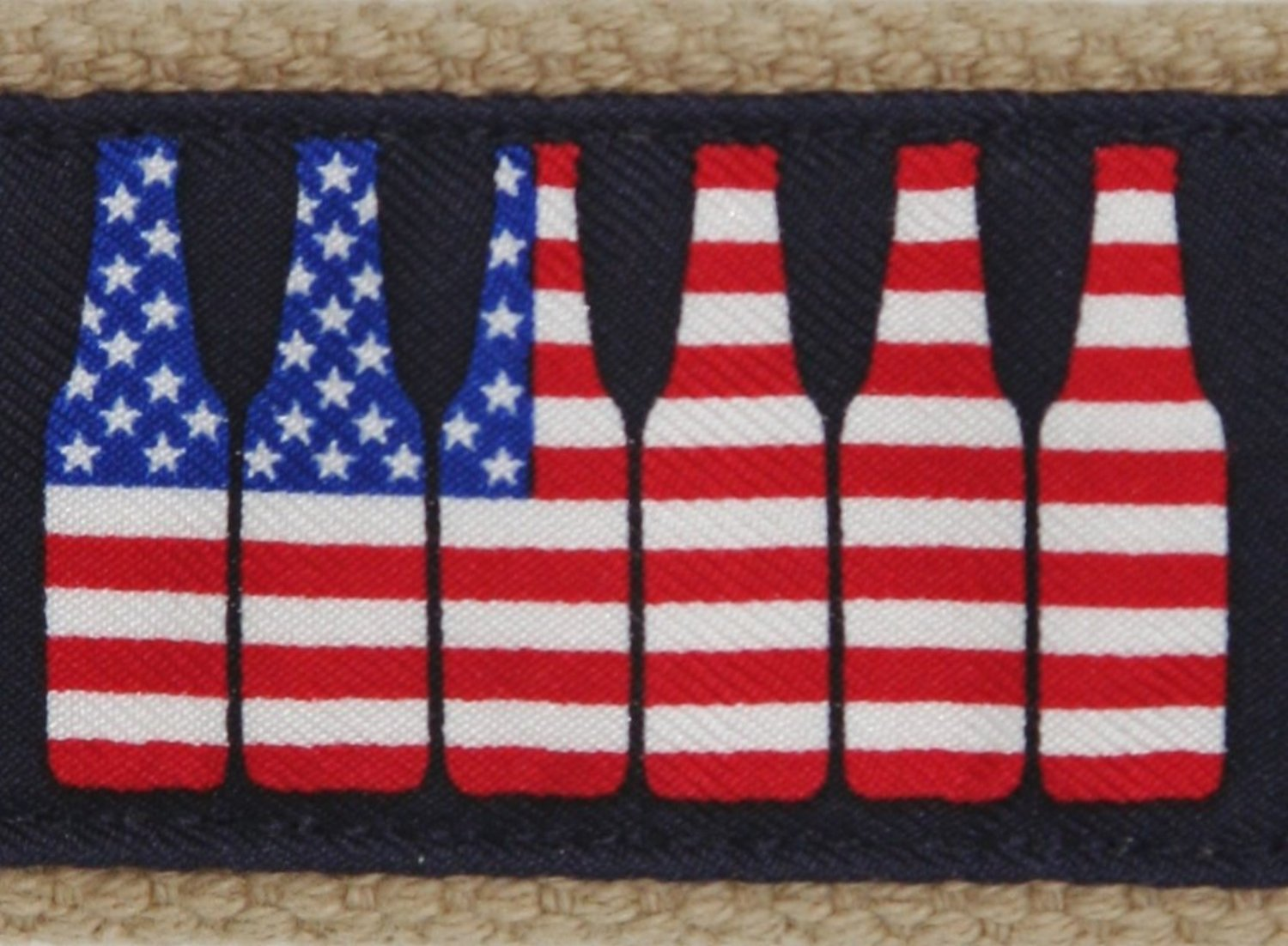 Close-up of American flag stars and stripes 6 pack of beer motif.  Preppy and patriotic styling similar to Vineyard Vines.