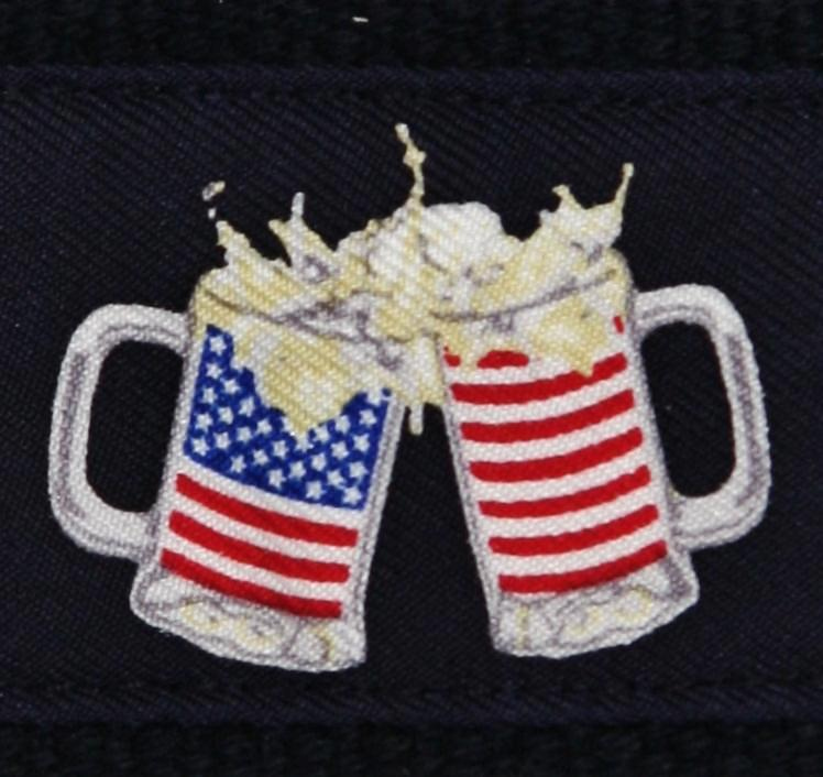 Club Belt-American Flag-Preppy-Beer Mugs-Cheers-Navy-Cold Glory