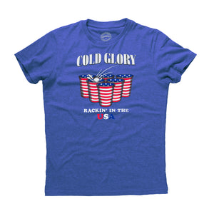 American Flag Beer Pong T-Shirt  Royal Blue Heather