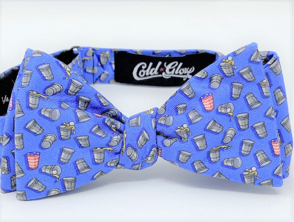 Light Blue Beer Pong Bow Tie