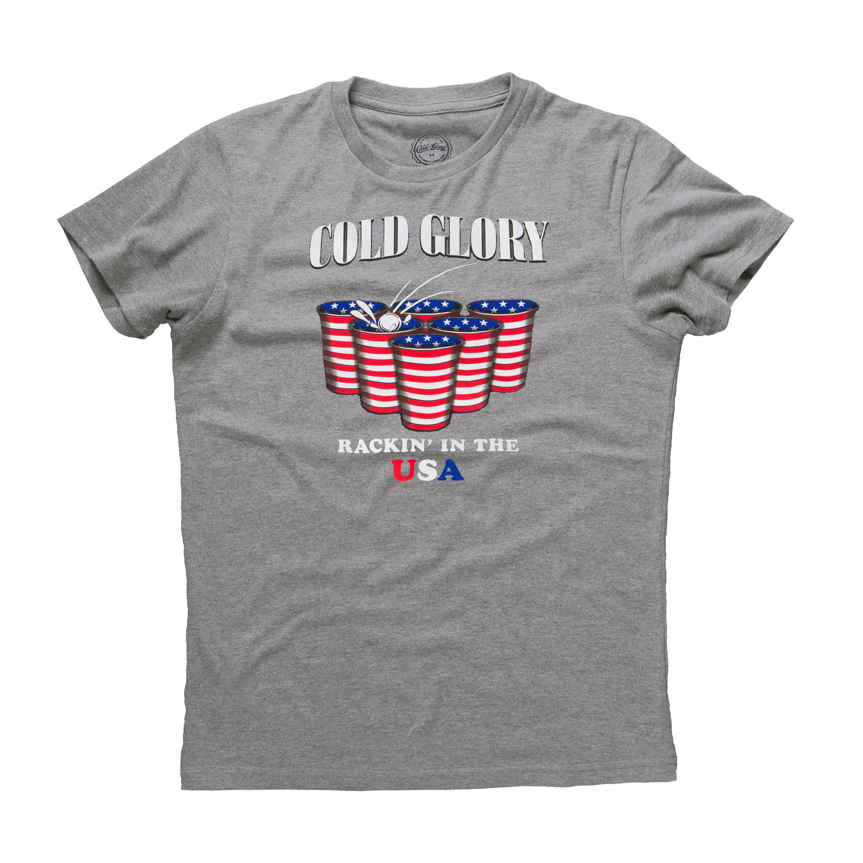 American Flag Beer Pong T-Shirt  Grey Heather