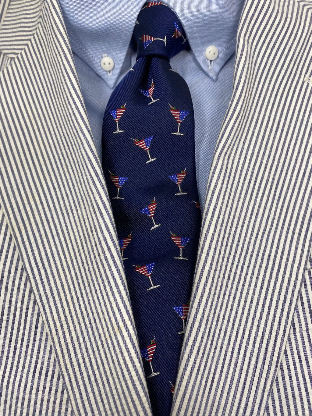 Martini American Flag Spill-Resistant Tie