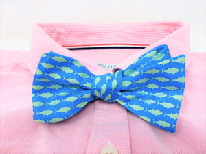 Teal Fish Bow Tie
