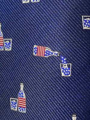 Whiskey Bottle and Glass American Flag Spill-Resistant Tie