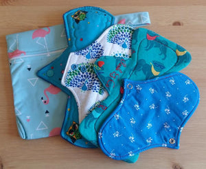 Blue Cloth Pad Starter Pack - 4 Pads and a Wet Bag