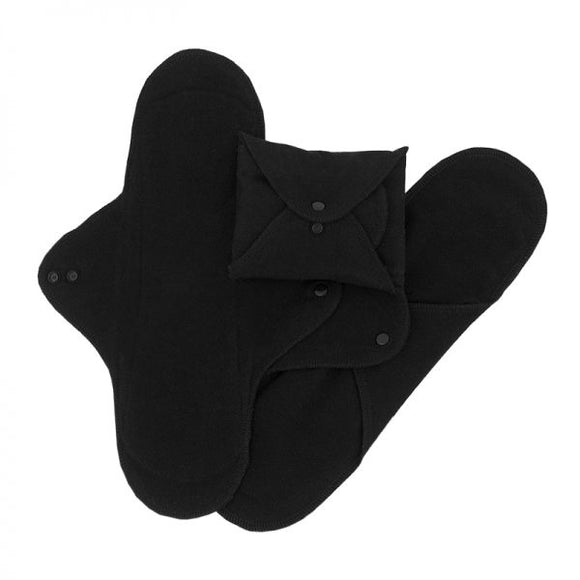 ImseVimse Organic Cotton Night Pads - Pack of 3 - Black