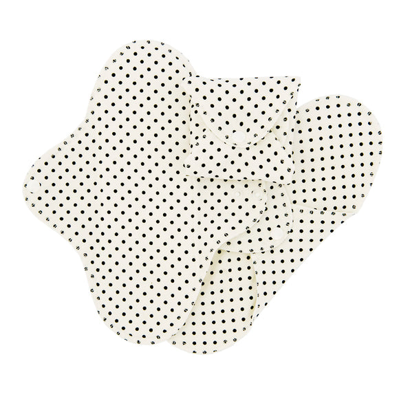 ImseVimse Organic Cotton Regular Pads - Pack of 3 - Black Dots
