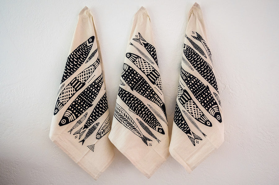 3- Pack Black and White Sardine Kitchen/Hand Towel