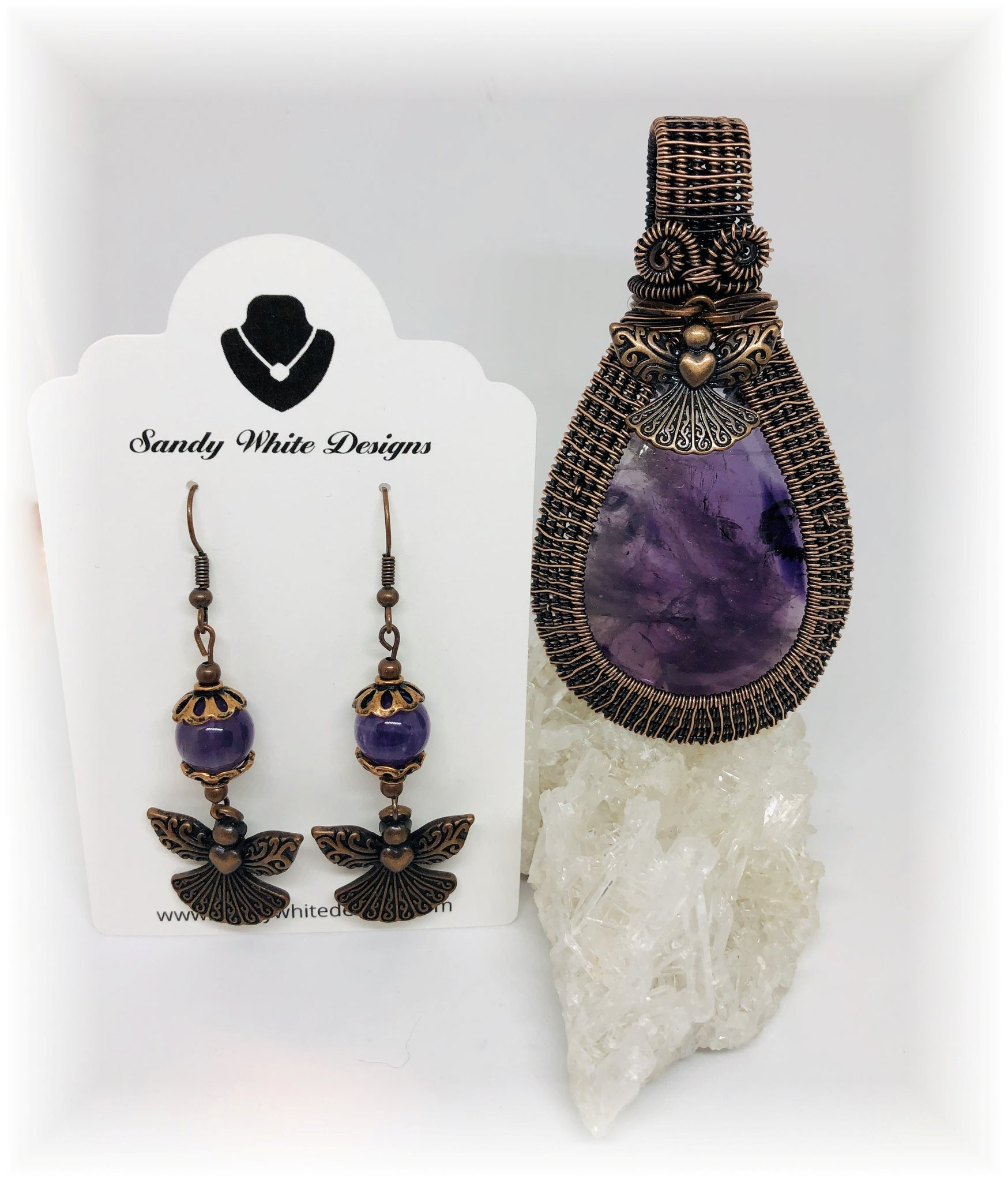 amethyst Copper amethyst necklace earring set copper rock crystal purple and gray glass necklace earring set