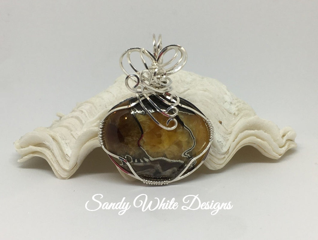 Simbircite Ammonite Sterling Silver Wire Wrapped Pendant With Slide ...