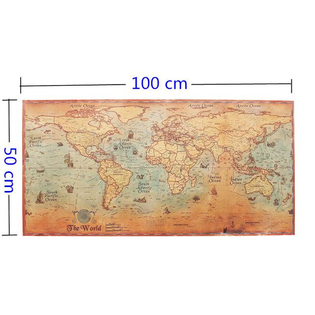 Vintage Nautical World Map Poster GadgetCheetah - Antique looking world maps for sale