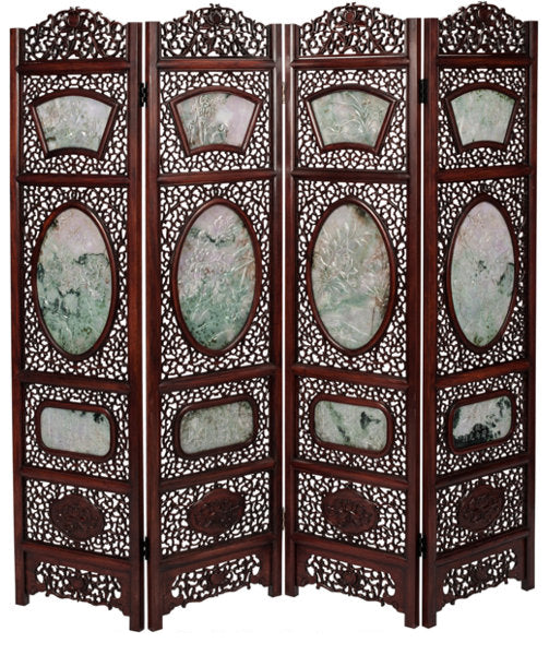A Chinese Carved Hardwood and Jade Four-Panel Room Screen, 20th century