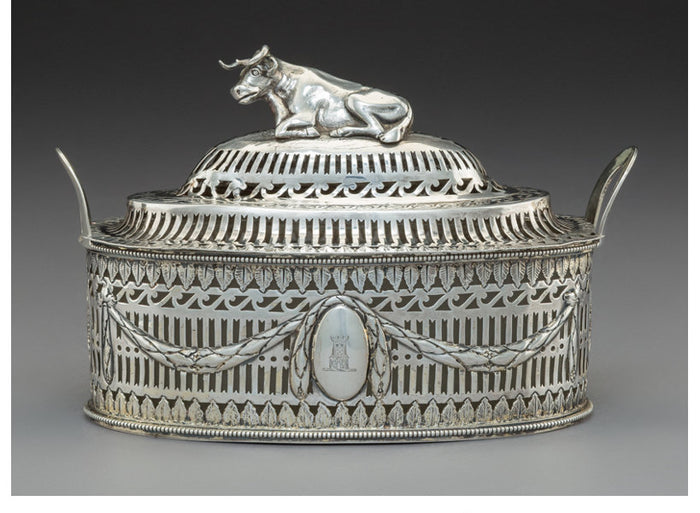 A Michael Hormer Silver Covered Butter Dish with Couchant Cow-Form Finial, Dublin, Ireland, late 18th century . Marks