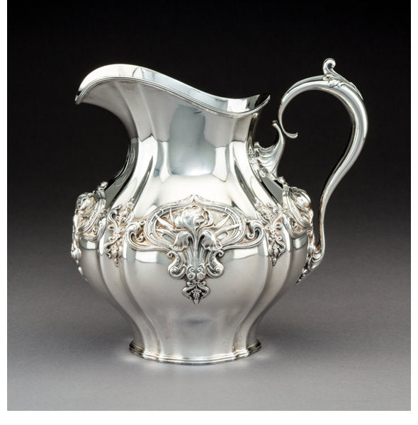 A Whiting Art Nouveau Silver Water Pitcher with Iris Motif