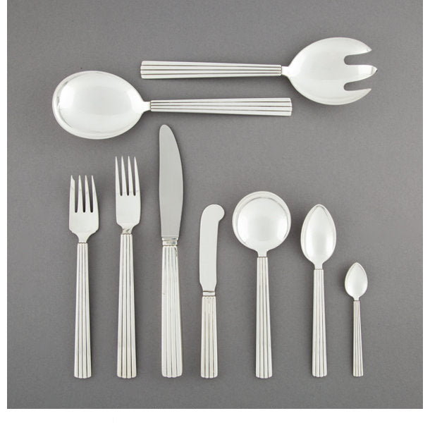 An Eighty-Six-Piece Georg Jensen Bernadotte Pattern Silver Flatware Service for Twelve, Copenhagen, Denmark, des... (Total: 86 Items)