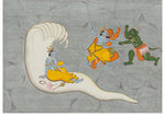 An Indian Bhagavata Purana Gouache Folio Illustration Depicting a Vishnu Varaha Avatar Battling Hiranyaksha