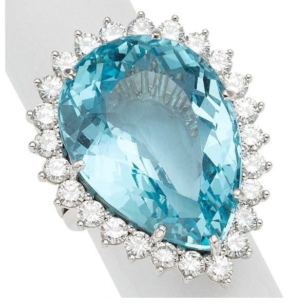 Aquamarine, Diamond, White Gold Ring