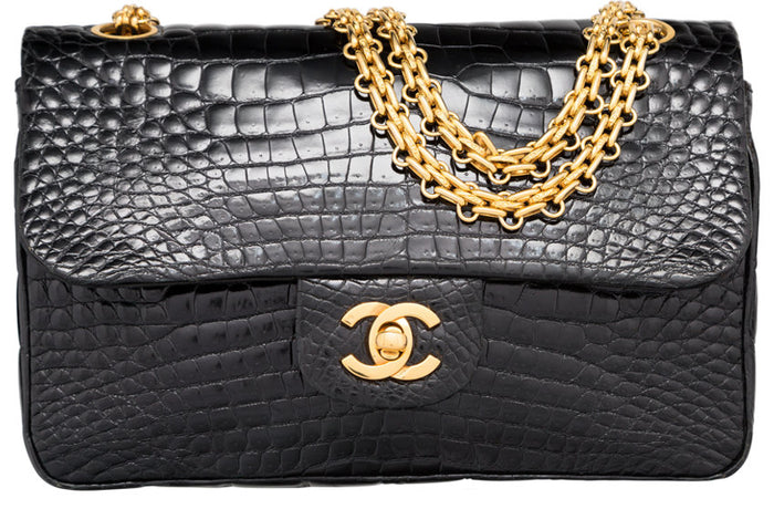 Chanel Shiny Black Crocodile Small Double Flap Bag with Gold Hardware. Very Good Condition
