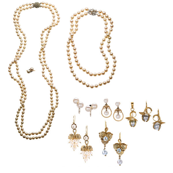 Diamond,Cultured Pearl, Gold Jewelry