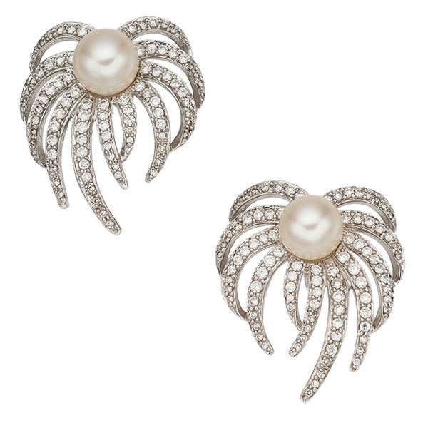 Diamond, Cultured Pearl, White Gold Earrings