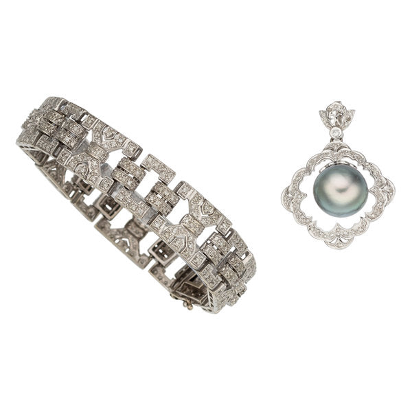 Diamond, Cultured Pearl, White Gold Jewelry