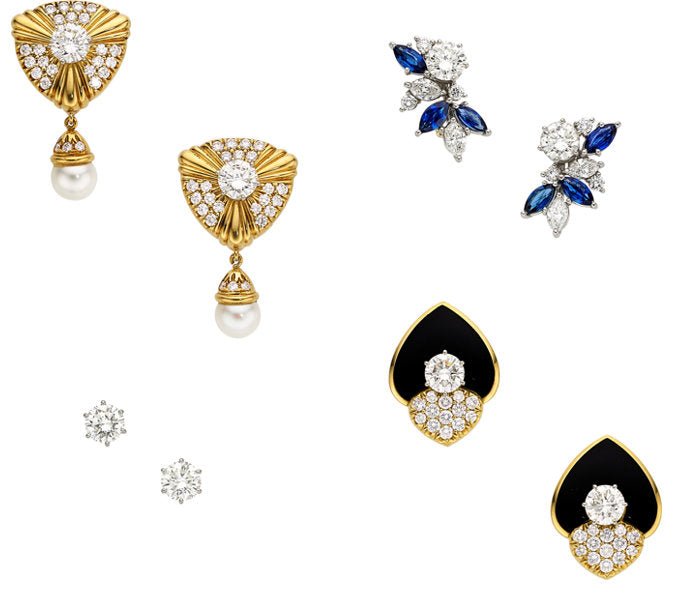 Diamond, Multi-Stone, Cultured Pearl, Platinum, Gold Earrings and Jackets, Leverington