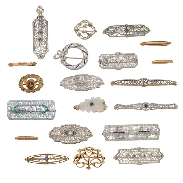 Diamond, Multi-Stone, Synthetic Stone, Seed Pearl, Enamel, Platinum, Gold Brooches