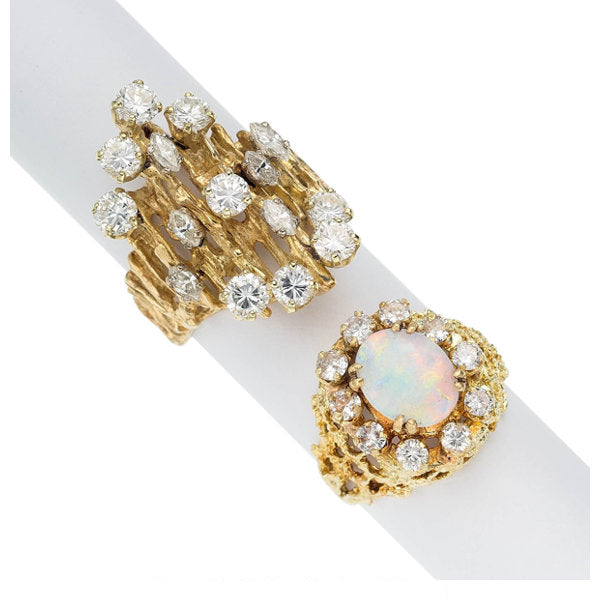Diamond, Opal, Gold Rings