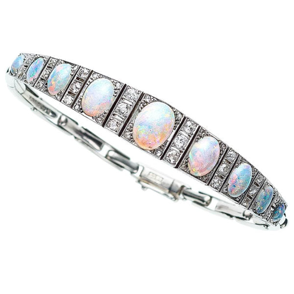 Diamond, Opal, White Gold Bracelet