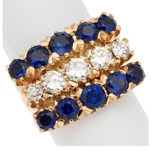 Diamond, Synthetic Sapphire, Gold Ring