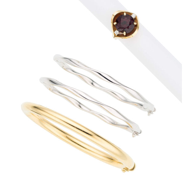 Garnet, Diamond, Gold Jewelry
