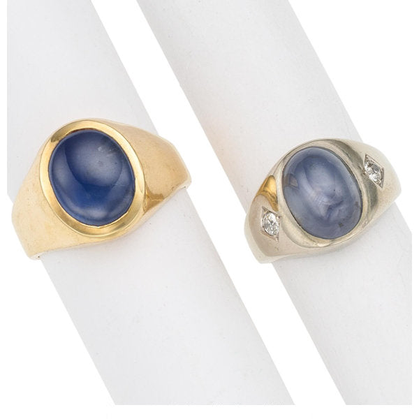 Gentleman's Star Sapphire, Diamond, Gold Rings