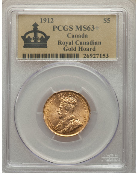 George V gold 5 Dollars 1912 MS63+ PCGS