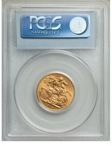 George V gold Sovereign 1918-C MS63 PCGS