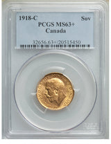 George V gold Sovereign 1918-C MS63+ PCGS
