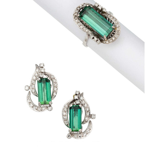 Green Tourmaline, Diamond, White Gold Jewelry Suite